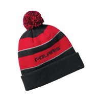 Youth Back Country Pom Beanie Hat - Black/Red by Polaris