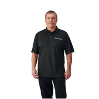 Men's Short-Sleeve Solid Tech Polo with Logo, Black