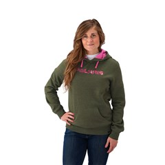 Women's Hunter Green Hoodie with Pink Logo