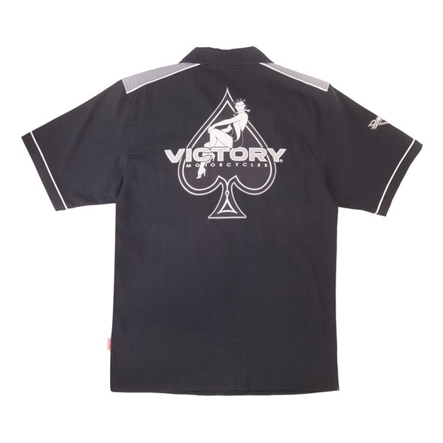 Men S Classic Flat Collar Ace Shirt Black Gray By Victory